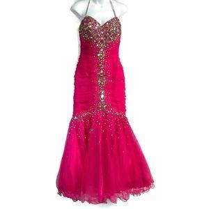 Jovani Mermaid Prom Dress Pink Sequin